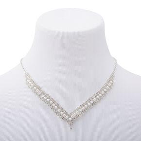 Silver Rhinestone & Pearl Chevron Statement Necklace,