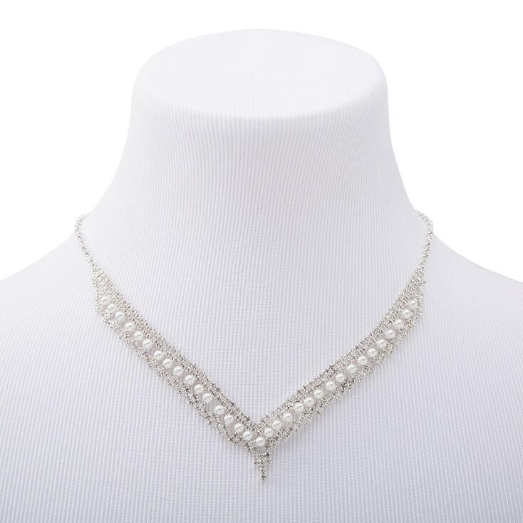 Collier de caractère en chevron avec strass et perles d'imitation couleur argentée,