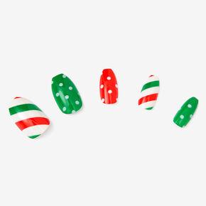 Faux ongles autocollants ballerine à pois et à rayures - Lot de 24,
