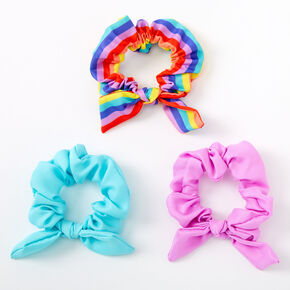 Claire's Club Small Rainbow Carnival Bow Hair Scrunchies - 3 Pack,