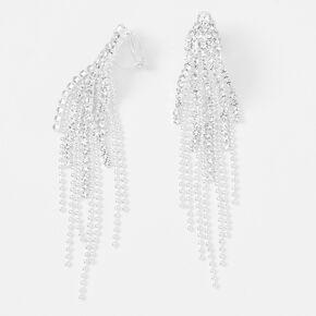 """Silver 3"""" Crystal Fringe Clip On Drop Earrings,"""