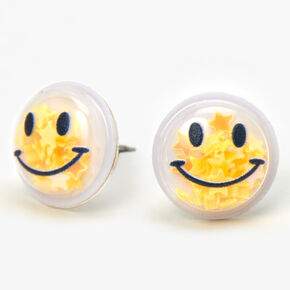 Smiley Face Star Shaker Stud Earrings - Yellow,