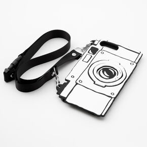 Black & White Camera Silicone Phone Case with Lanyard - Fits iPhone 6/7/8 Plus,
