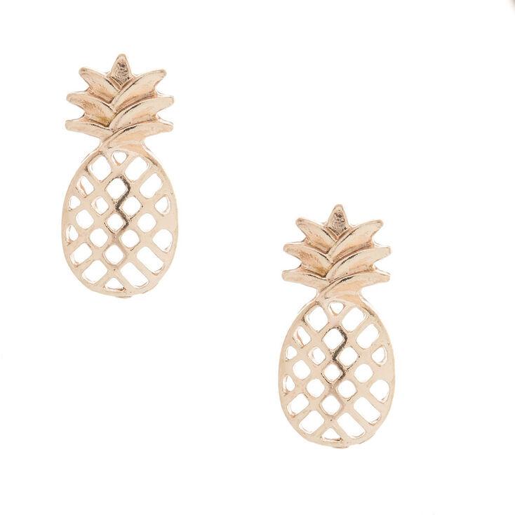 Rose Gold Pineapple Stud Earrings,
