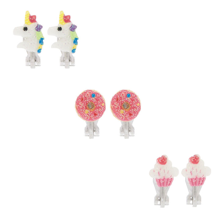 Glitter Sweet Unicorn Clip On Stud Earrings - 3 Pack,