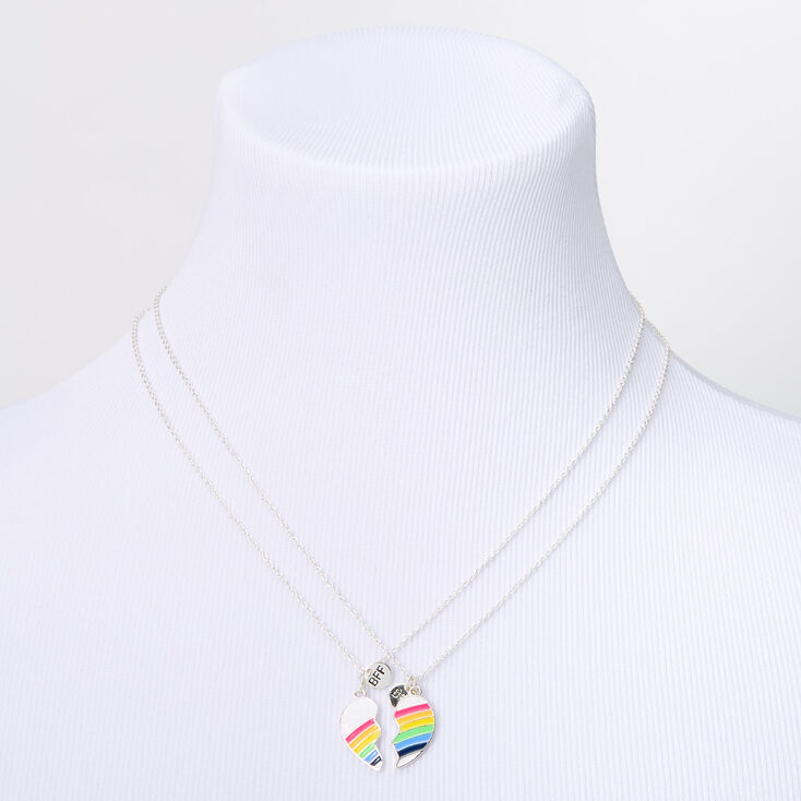 Set of 2 Silver Tone with Rainbow 16 Inches Long Lobster Clasp Claires Matching Rainbow Heart Pendant Best Friends Necklaces