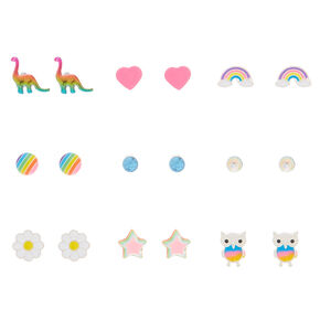 Rainbow Fun Stud Earrings - 9 Pack,