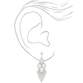"""Silver Rhinestone 2"""" Chandelier Drop Earrings,"""