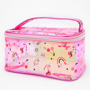Unicorn Icon Transparent Makeup Bag - Pink,