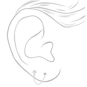 Boucles d'oreilles à chaîne croix en argent,