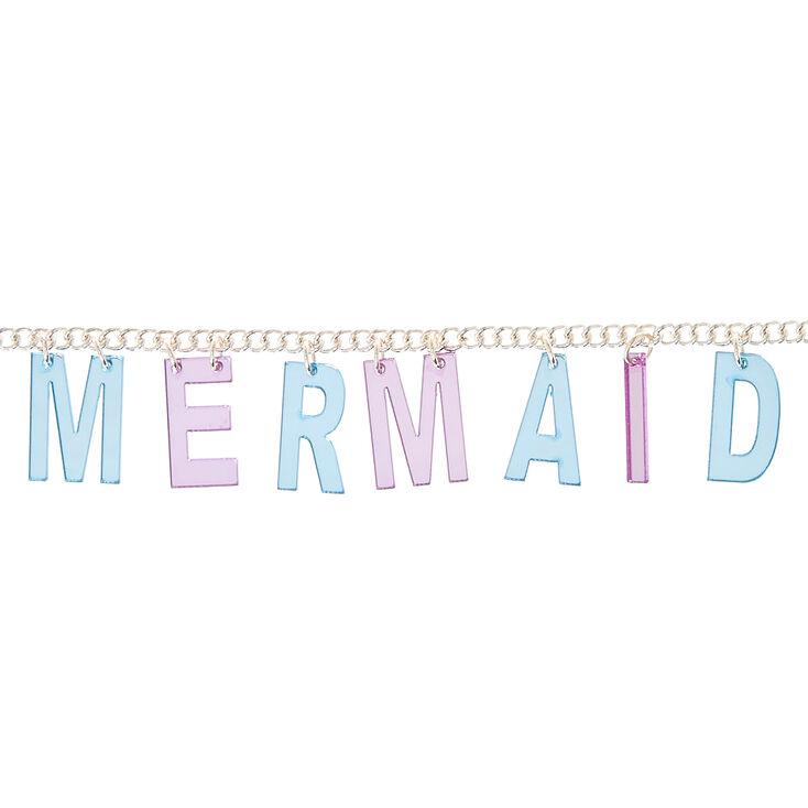 Collier à lettre «Mermaid» couleur argenté, violet et bleu,
