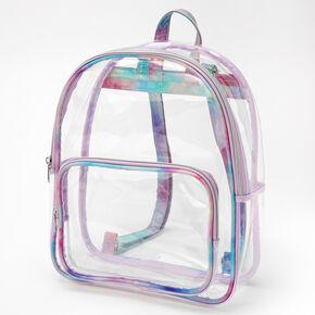 Tie Dye Trimmed Medium Backpack - Clear,