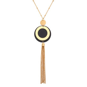 Gold Disc Tassel Long Pendant Necklace,