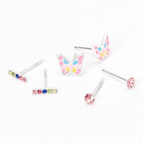 Sterling Silver Pastel Butterfly Stud Earrings - 3 Pack,