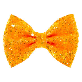 Neon Glitter Mini Hair Bow Clip - Orange,