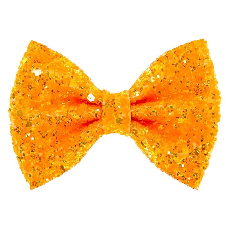 Neon Glitter Mini Hair Bow Clip - Orange,