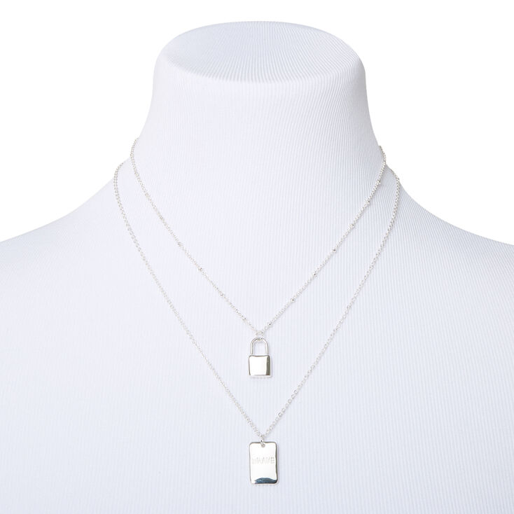 Sky Brown™ Silver Padlock Chain Necklaces - 2 Pack,