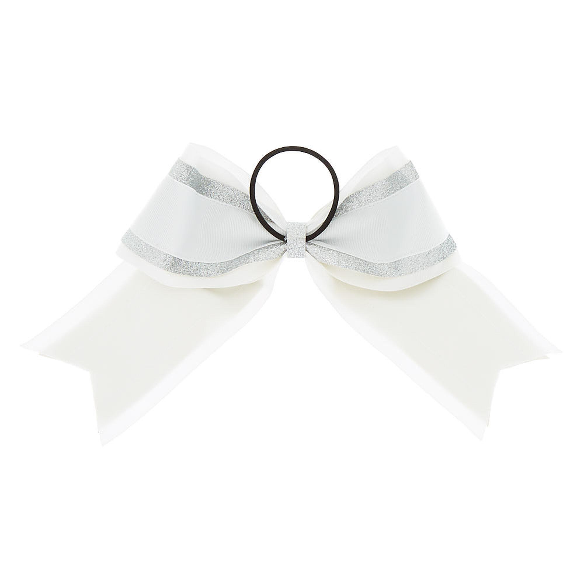 ... Silver Glitter Cheer Bow Hair Tie - White ba85a8b61c7