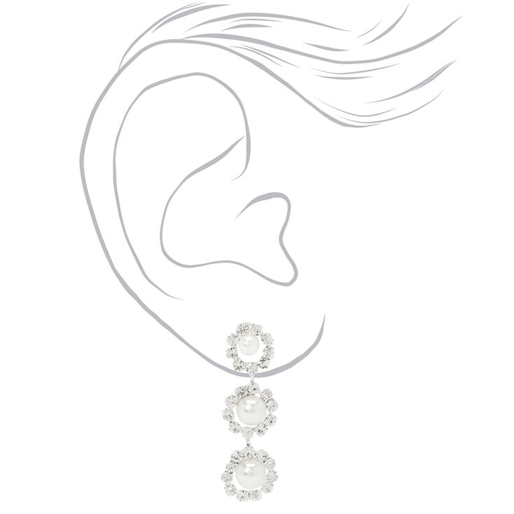 Pearl & Rhinestone Necklace & Drop Earring Set,