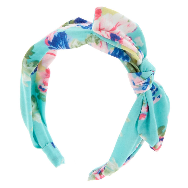 Mint Floral Knotted Bow Headband,