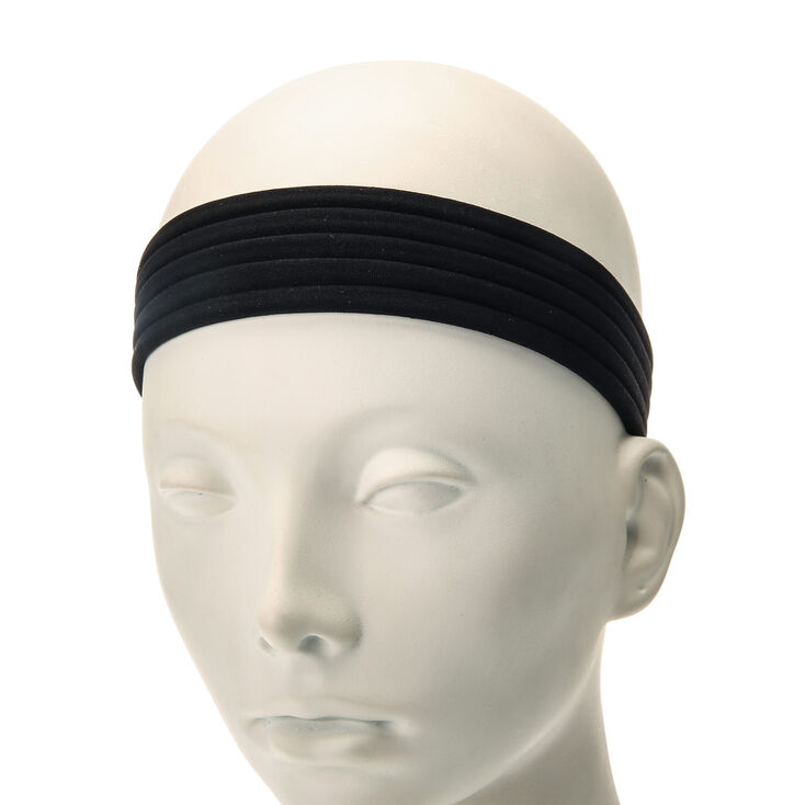 Solid Headwraps - Black, 5 Pack,