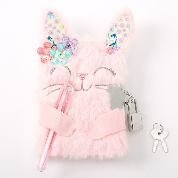 Claire's Club Flower Bunny Plush Mini Lock Diary - Pink,