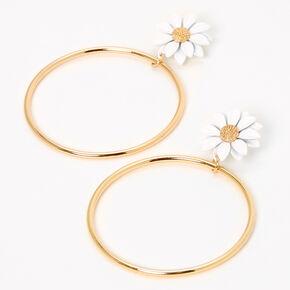 Pendantes circulaires marguerite 8cm couleur dorée - Blanc,
