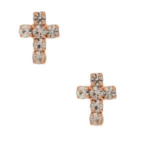 Rose Gold Crystal Cross Stud Earrings,