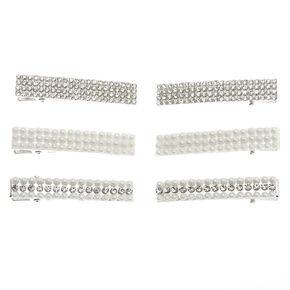Barrettes rectangulaires strass et perles d'imitation couleur argenté - Lot de 6,