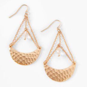 """Gold 2"""" Hammered Celestial Drop Earrings,"""