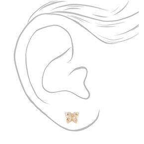 Gold Cubic Zirconia Butterfly Stud Earrings,