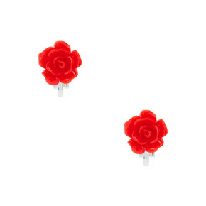 Silver Rose Clip On Stud Earrings - Red,