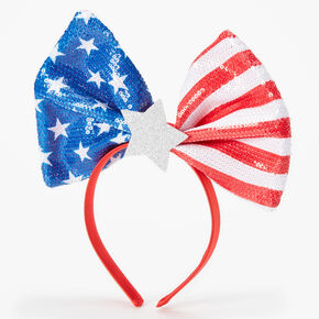 Fourth of July Oversized Sequin Flag Headband - Red,