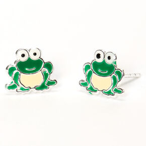 Sterling Silver Frog Stud Earrings - Green,