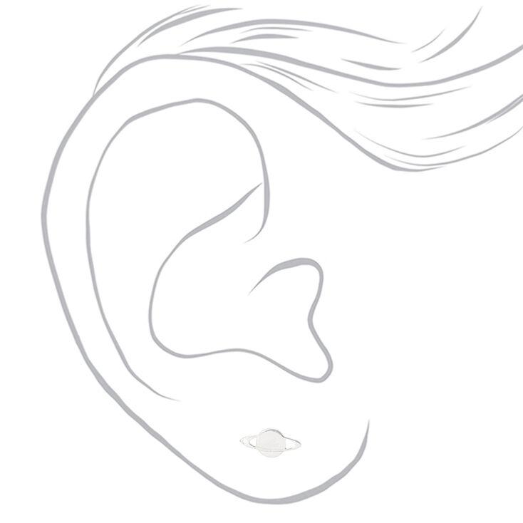 Sterling Silver Planet Stud Earrings,