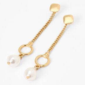 """Gold 3"""" Pearl Chain Drop Earrings,"""