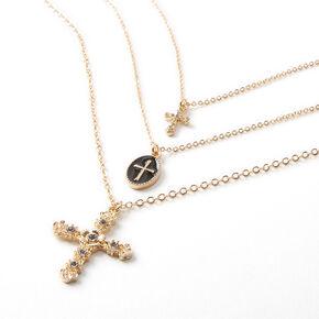 Collier multi-rangs trio de croix couleur dorée,