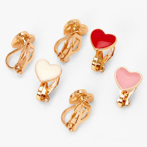 Gold Pink & Red Heart Clip On Stud Earrings - 3 Pack,