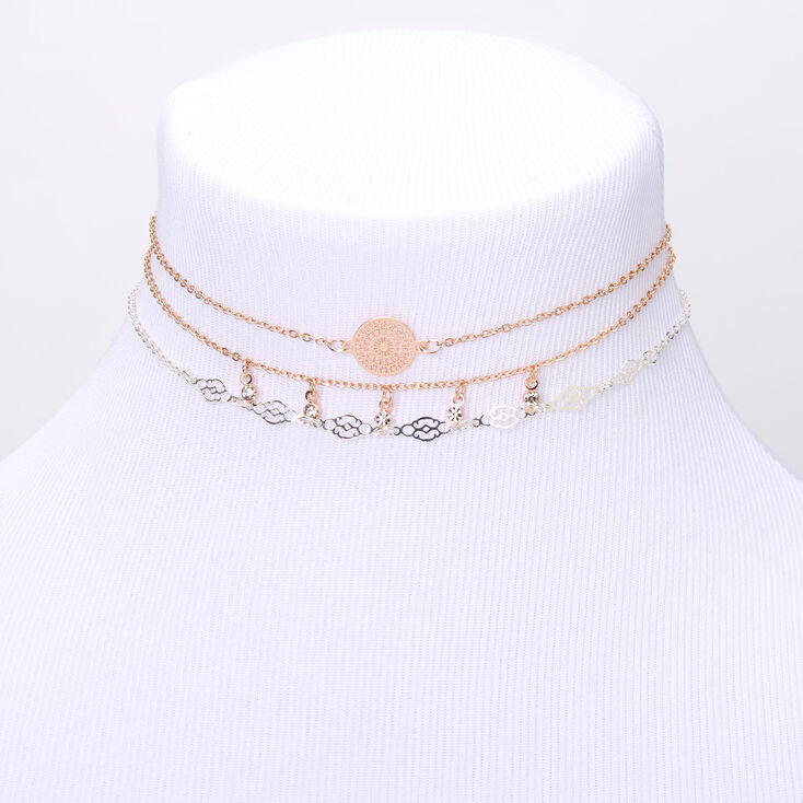 Mixed Metal Filigree Choker Necklaces - 3 Pack,