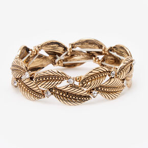 Antique Gold Rhinestone Leaves Stretch Bracelet,