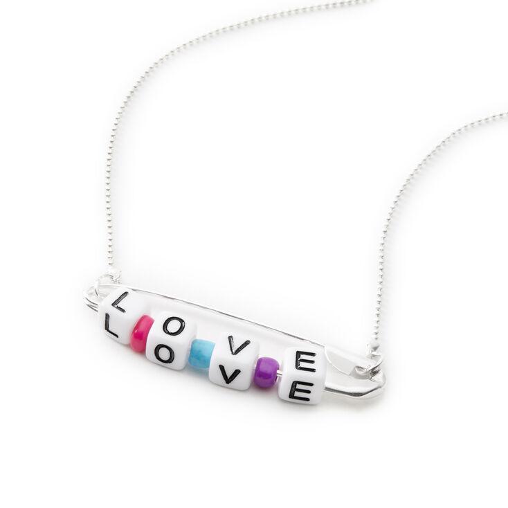 Collier à pendentif «Love» épingle à nourrice perlé couleur argentée,