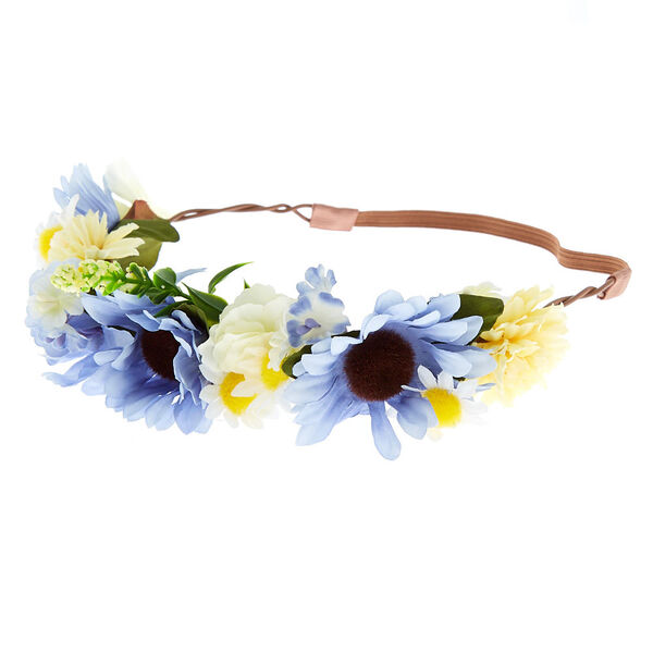 Claire's - mixed daisy flower crown headwrap - 1