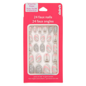 Glitter Paris Stiletto Press On Faux Nail Set - 24 Pack,