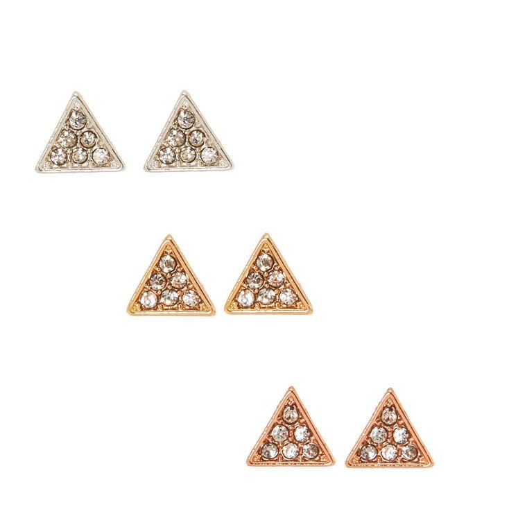 Clous d'oreilles triangulaires strass et métaux assortis,