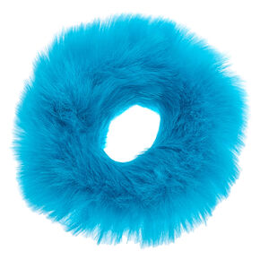 Medium Faux Fur Hair Scrunchie - Neon Blue,