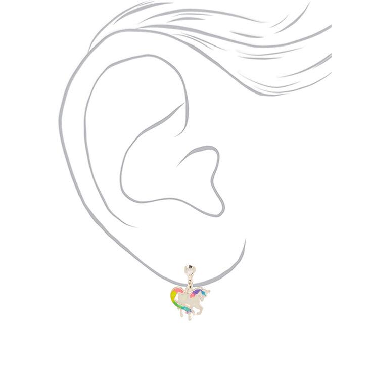 Iridescent Rainbow Unicorn Clip on Earrings,