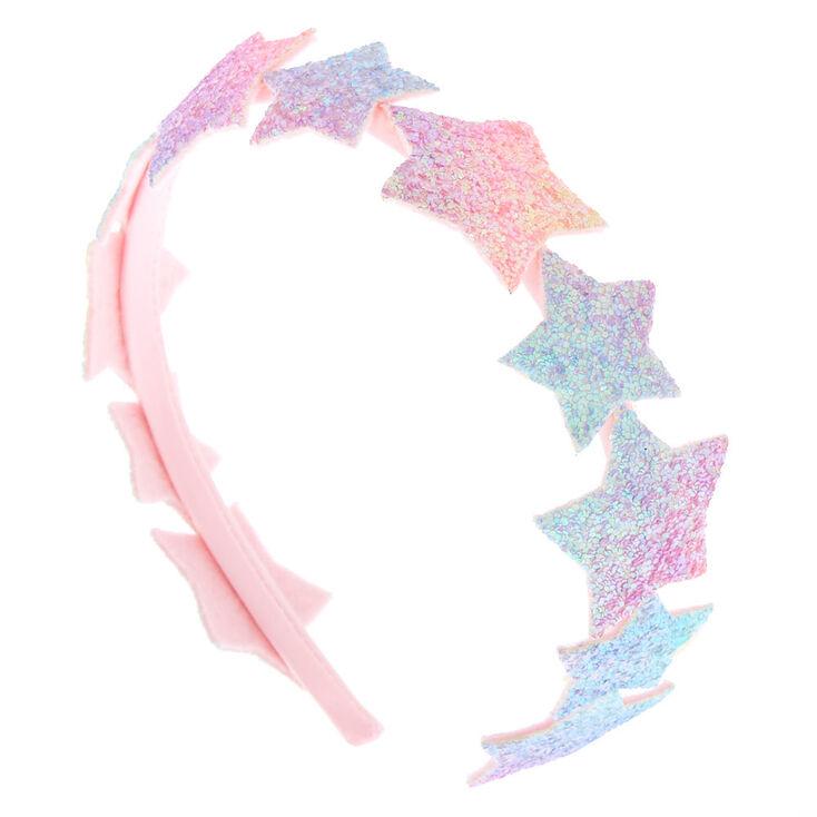 Claire's Club Glitter Star Headband - Pink,