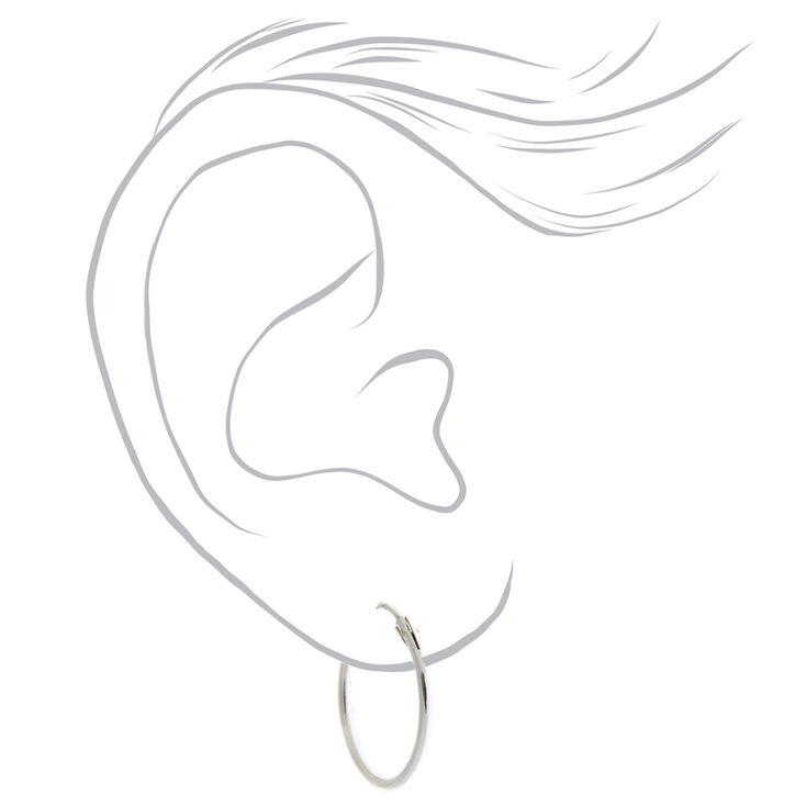 Sterling Silver 16MM Classic Hoop Earrings,