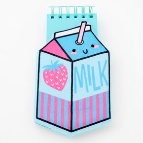 Strawberry Milk Carton Squish Notebook - Blue,