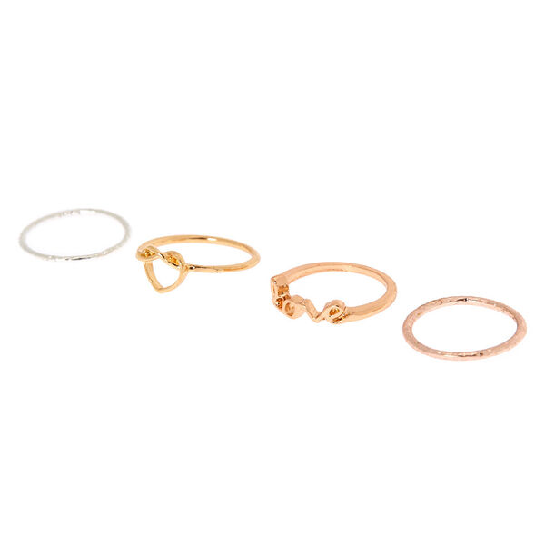 Claire's - mixed metal love midi rings - 1